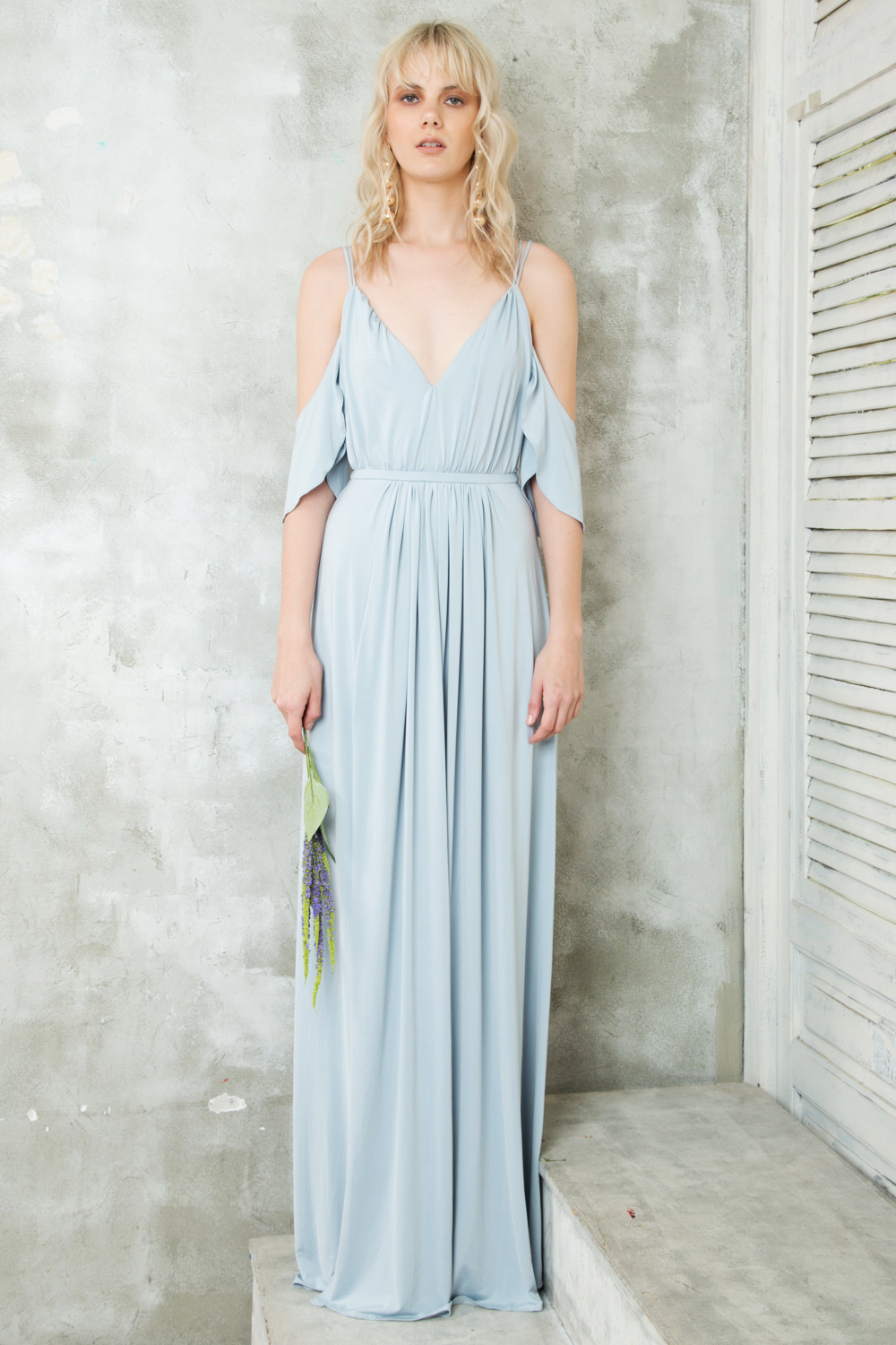 Valentina Pleated Maxi Dress With Off Shoulder And High Dove Gray