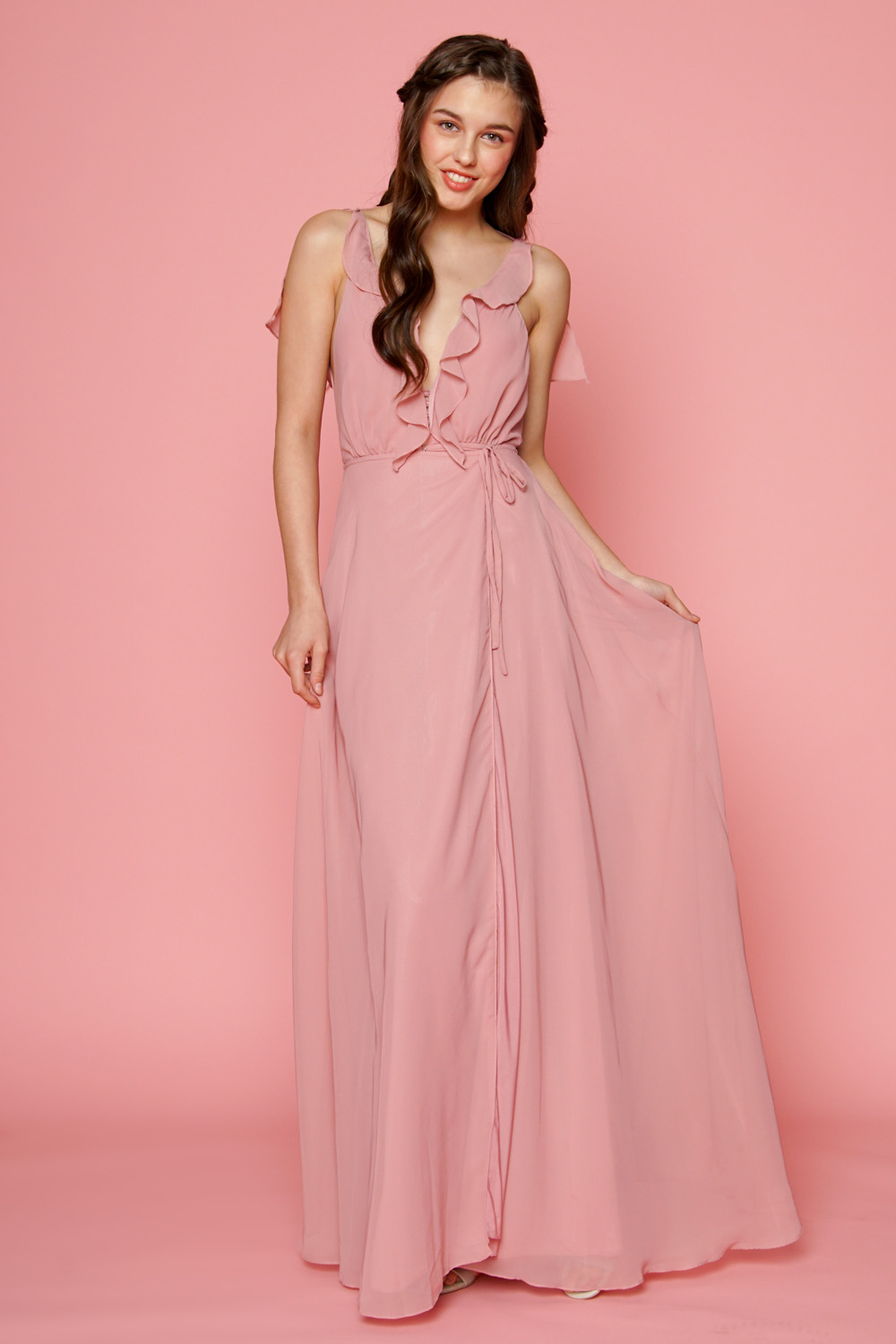 Zoo Fashion Online Florence Ruffle Chiffon Maxi Dress With Wrap