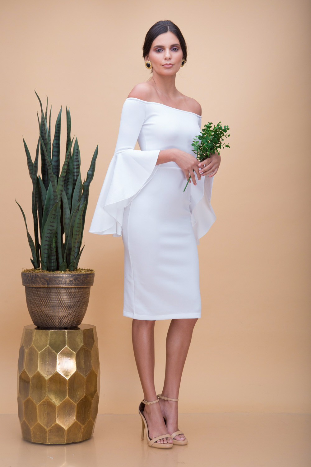 d5444eb0a3ca PEPITA Off Shoulder Midi Dress with Layered Frill Sleeves (White)