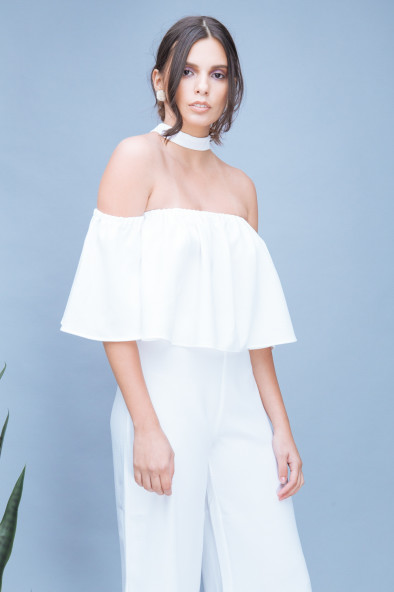f73435fb5b9e EMMA Off-the-shoulder Top with Tie Neckpiece (White). ₱1