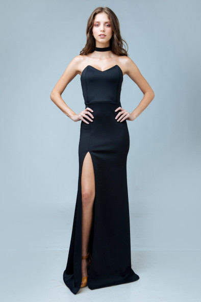6d25b2c6b654 ALEGRA Pointed Tube Dress with High Slit and Tie Neckpiece (Black).  ₱2