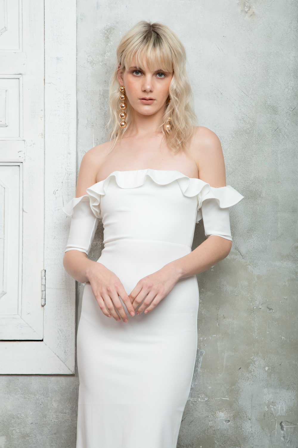 05806290e4e5 ... COSETTE Off Shoulder Midi Dress with Mini Ruffles (White).  FIRST-0217-4082  SECOND-0217-4088 ...