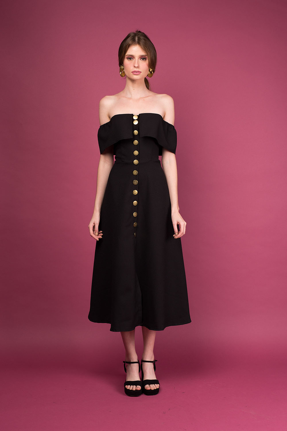 02ac4a1b872d POPPY Off Shoulder A-Line Dress with Button Up Detail (Black with Gold  Buttons)
