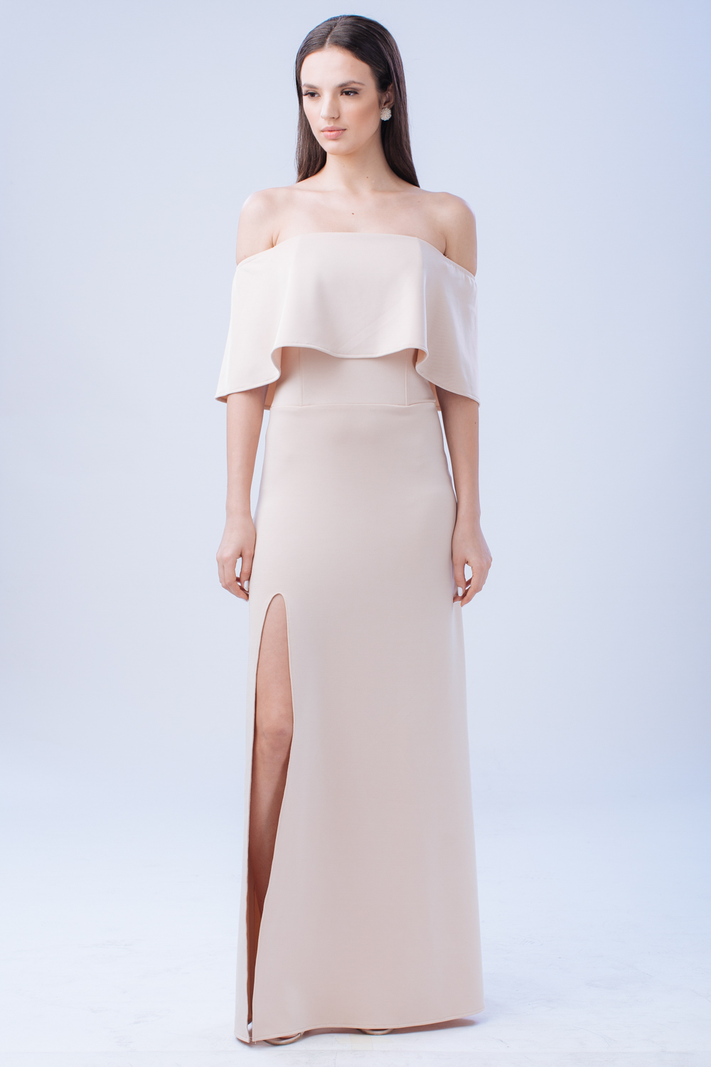 The Spectrum Two Way Off Shoulder And Flounce Scuba Maxi Dress With High