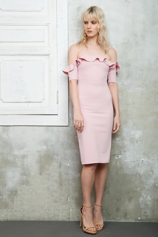 Cosette Off Shoulder Midi Dress With Mini Ruffles Blush Pink