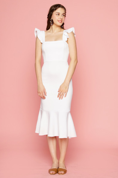 af56173fb410 ALANA Strappy Ruffled Midi Dress with Flounce Skirt (White)