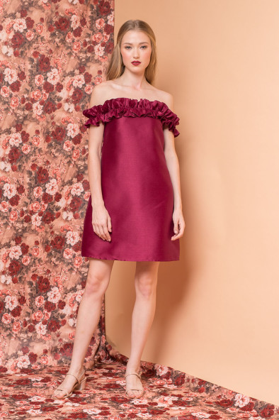 425b5c8cf48a ROSA Gazaar Mini Dress with Overized Off Shoulder Ruffles (Plum Gazaar).  ₱3