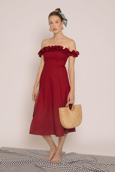 31fc7c890c9c MEXICO Ruffled Off Shoulder Midi Dress with Slit (Maroon Crepe)