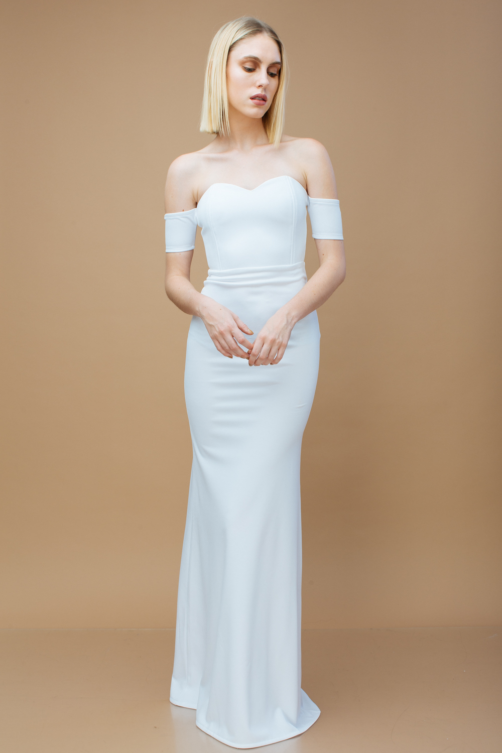 15967d67baba BISOUS Sweetheart Cut Off Shoulder Maxi Dress (White)